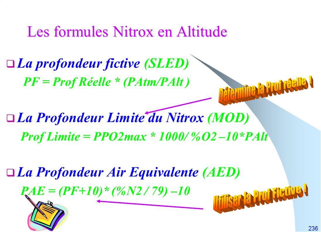 236 Les formules Nitrox en Altitude La profondeur fictive (SLED) PF = Prof Réelle * (PAtm/PAlt ) La Profondeur Limite du Nitrox (MOD) Prof Limite = PP