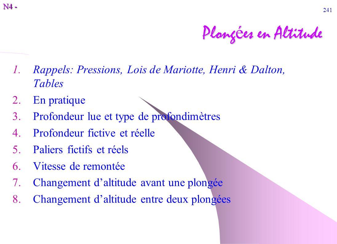 N4 - 241 Plong é es en Altitude 1.Rappels: Pressions, Lois de Mariotte, Henri & Dalton, Tables 2.En pratique 3.Profondeur lue et type de profondimètre