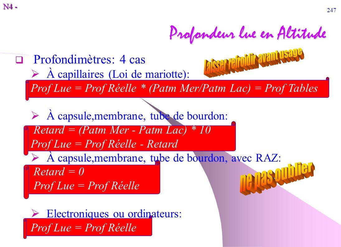 N4 - 247 Profondeur lue en Altitude Profondimètres: 4 cas À capillaires (Loi de mariotte): Prof Lue = Prof Réelle * (Patm Mer/Patm Lac) = Prof Tables