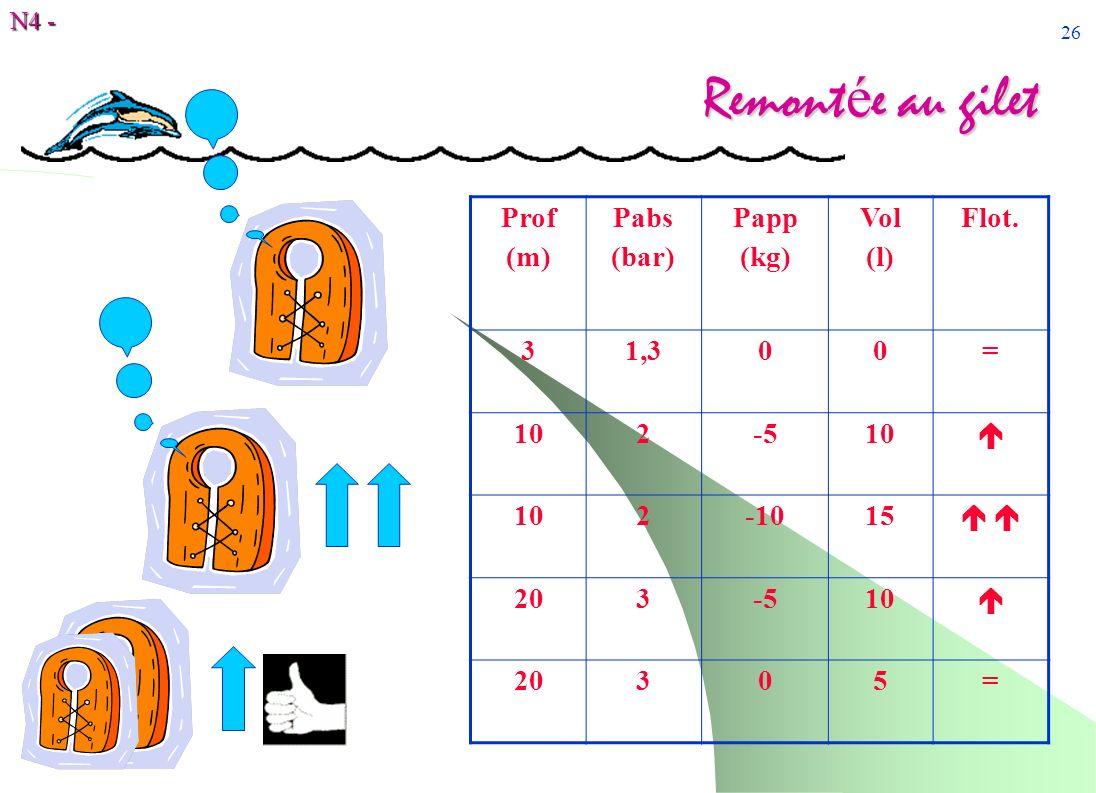 N4 - 26 Remont é e au gilet Prof (m) Pabs (bar) Papp (kg) Vol (l) Flot. 31,300= 102-510 102-1015 203-510 20305=