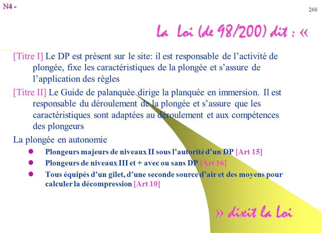 N4 - 266 La Loi (de 98/200) dit : « [Titre I] Le DP est présent sur le site: il est responsable de lactivité de plongée, fixe les caractéristiques de