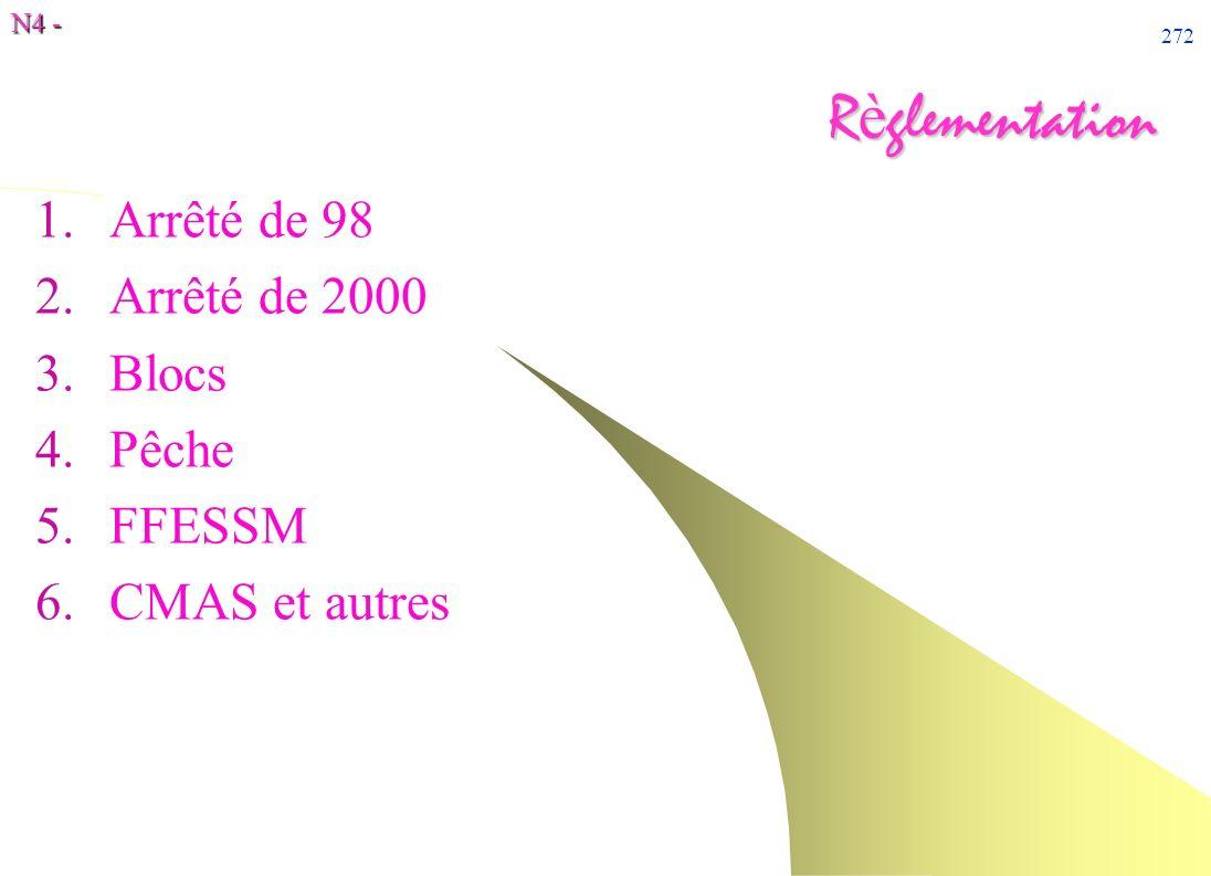 N4 - 272 R è glementation 1.Arrêté de 98 2.Arrêté de 2000 3.Blocs 4.Pêche 5.FFESSM 6.CMAS et autres