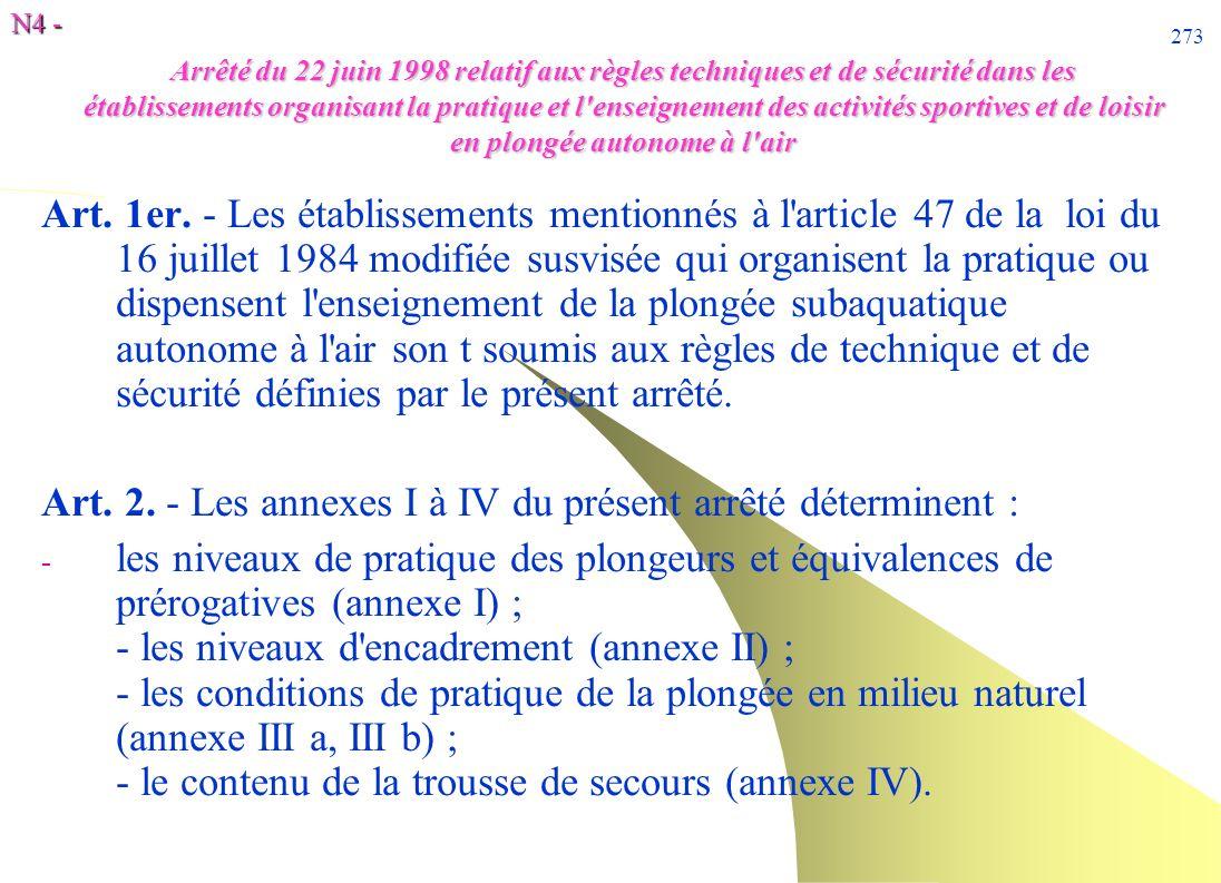 N4 - 273 Arrêté du 22 juin 1998 relatif aux règles techniques et de sécurité dans les établissements organisant la pratique et l'enseignement des acti