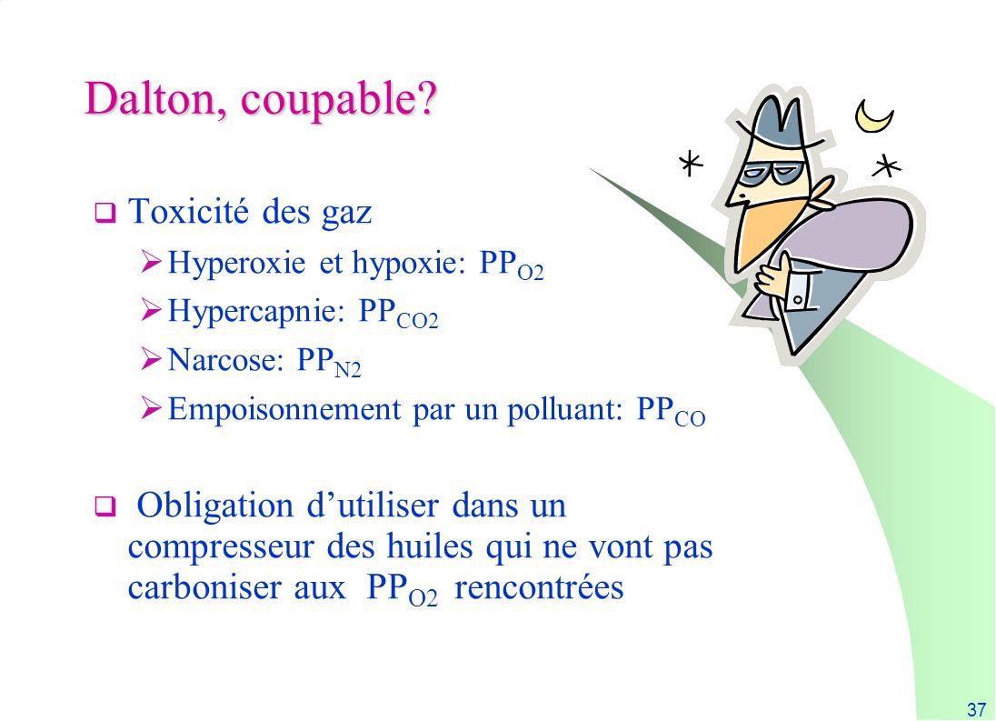 37 Dalton, coupable? Toxicité des gaz Hyperoxie et hypoxie: PP O2 Hypercapnie: PP CO2 Narcose: PP N2 Empoisonnement par un polluant: PP CO Obligation
