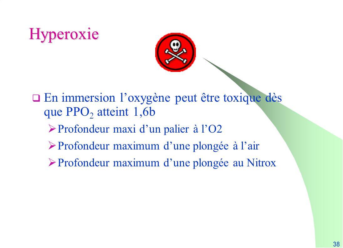 38 Hyperoxie En immersion loxygène peut être toxique dès que PPO 2 atteint 1,6b Profondeur maxi dun palier à lO2 Profondeur maximum dune plongée à lai