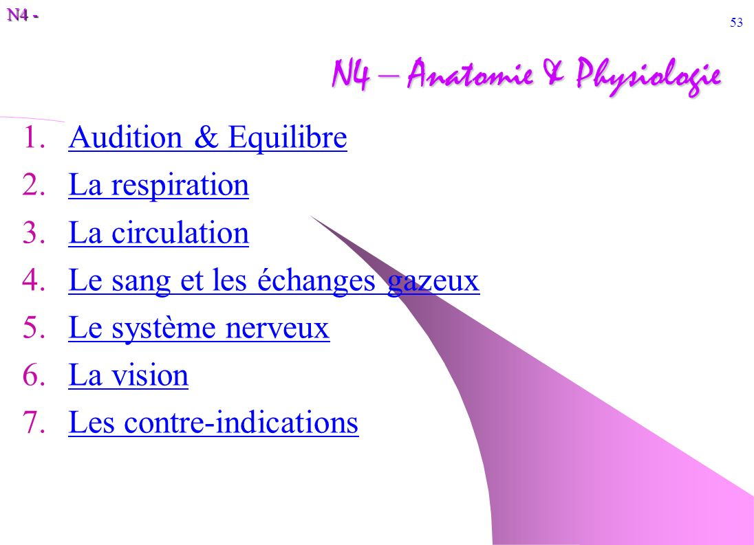 N4 - 53 N4 – Anatomie & Physiologie 1.Audition & EquilibreAudition & Equilibre 2.La respirationLa respiration 3.La circulationLa circulation 4.Le sang