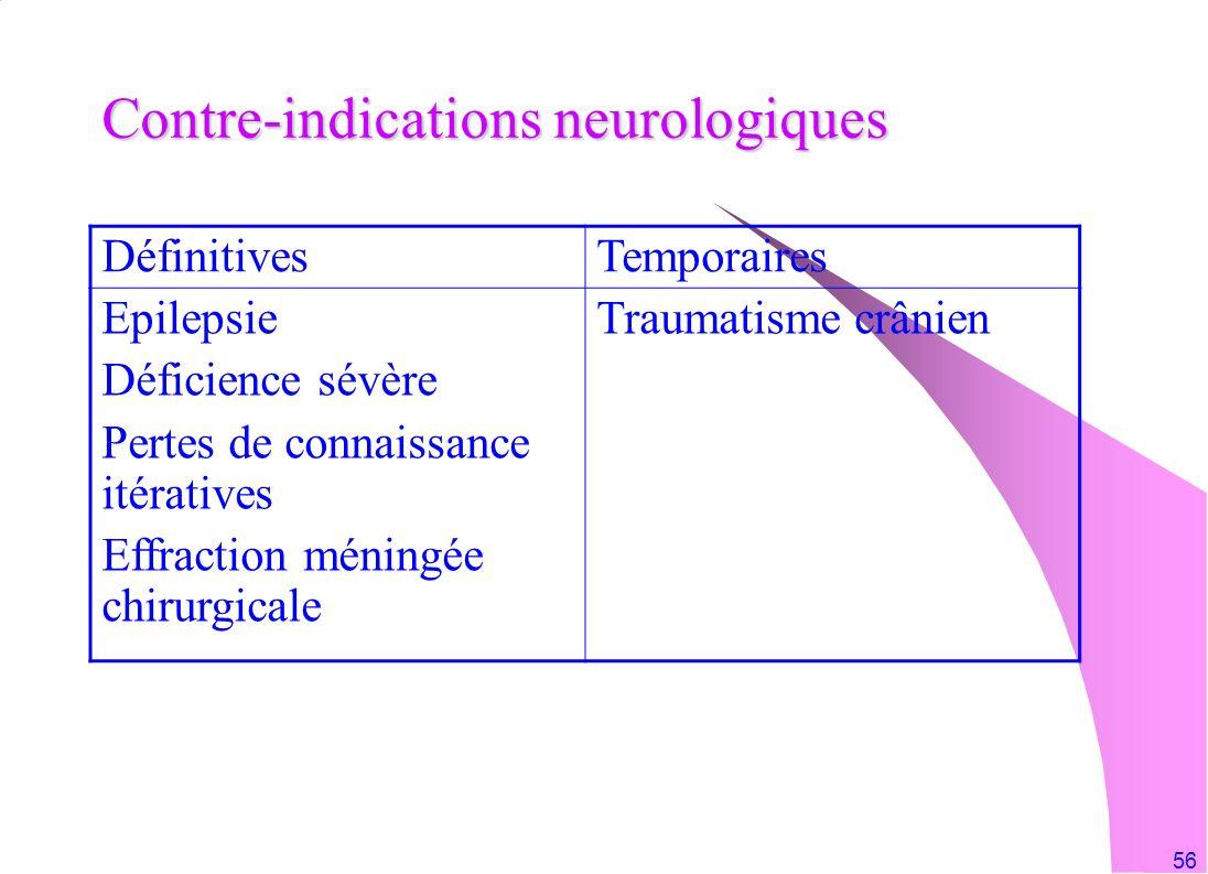 56 Contre-indications neurologiques DéfinitivesTemporaires Epilepsie Déficience sévère Pertes de connaissance itératives Effraction méningée chirurgic