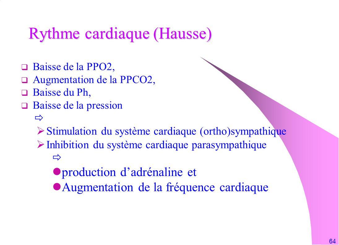64 Rythme cardiaque (Hausse) Baisse de la PPO2, Augmentation de la PPCO2, Baisse du Ph, Baisse de la pression Stimulation du système cardiaque (ortho)