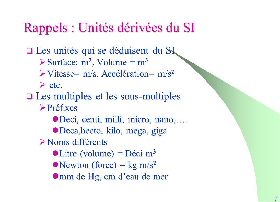 7 Rappels : Unités dérivées du SI Les unités qui se déduisent du SI Surface: m 2, Volume = m 3 Vitesse= m/s, Accélération= m/s 2 etc. Les multiples et