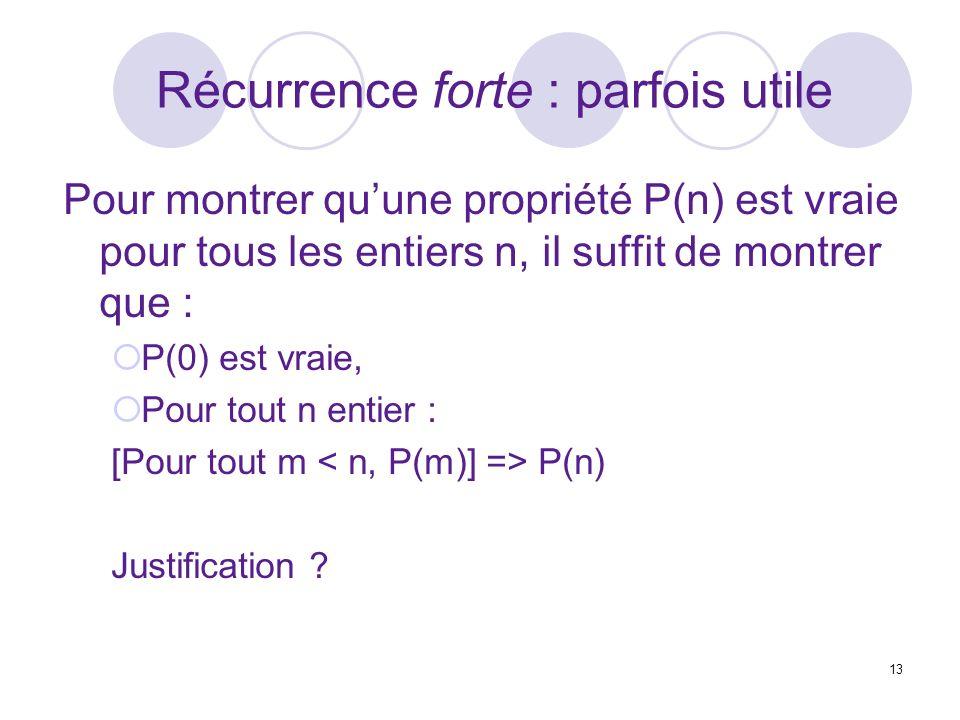 13 Récurrence forte : parfois utile Pour montrer quune propriété P(n) est vraie pour tous les entiers n, il suffit de montrer que : P(0) est vraie, Pour tout n entier : [Pour tout m P(n) Justification ?