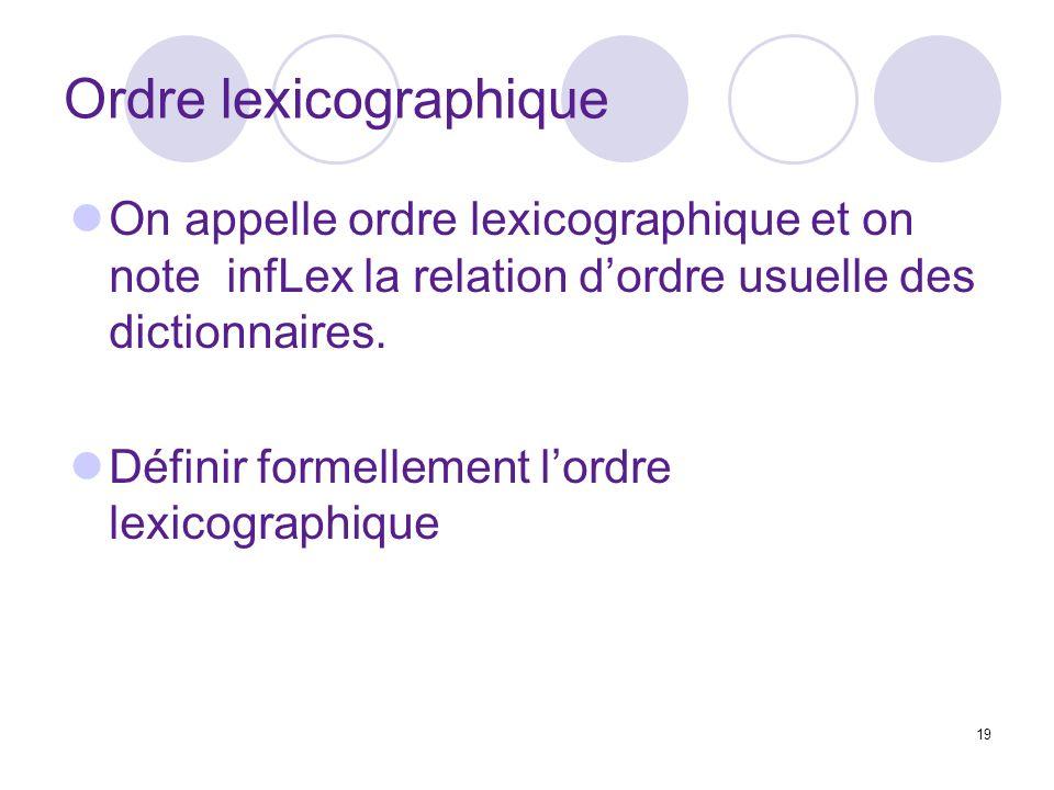 19 Ordre lexicographique On appelle ordre lexicographique et on note infLex la relation dordre usuelle des dictionnaires. Définir formellement lordre