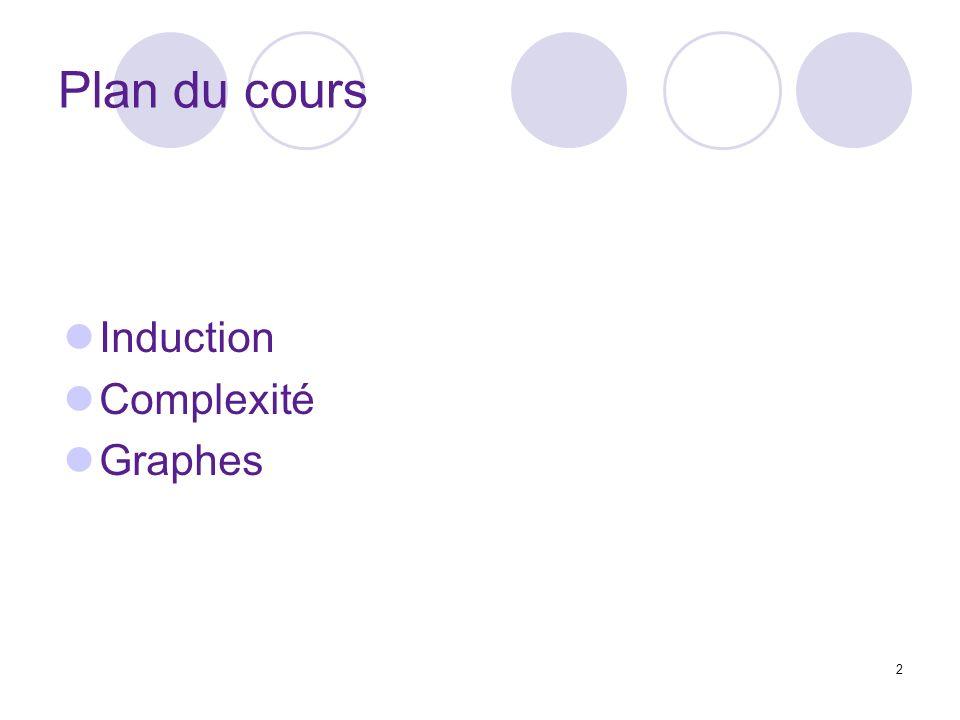 2 Plan du cours Induction Complexité Graphes