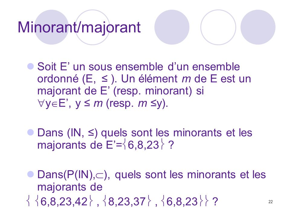 22 Minorant/majorant Soit E un sous ensemble dun ensemble ordonné (E, ).