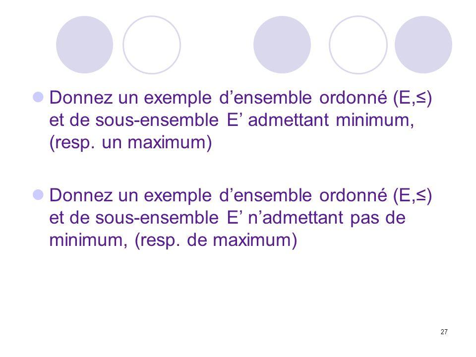 27 Donnez un exemple densemble ordonné (E,) et de sous-ensemble E admettant minimum, (resp. un maximum) Donnez un exemple densemble ordonné (E,) et de