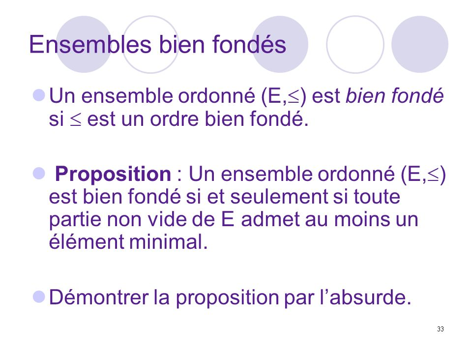 33 Ensembles bien fondés Un ensemble ordonné (E, ) est bien fondé si est un ordre bien fondé. Proposition : Un ensemble ordonné (E, ) est bien fondé s