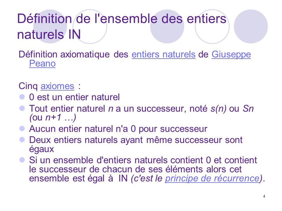 4 Définition de l ensemble des entiers naturels IN Définition axiomatique des entiers naturels de Giuseppe Peanoentiers naturelsGiuseppe Peano Cinq axiomes :axiomes 0 est un entier naturel Tout entier naturel n a un successeur, noté s(n) ou Sn (ou n+1 …) Aucun entier naturel n a 0 pour successeur Deux entiers naturels ayant même successeur sont égaux Si un ensemble d entiers naturels contient 0 et contient le successeur de chacun de ses éléments alors cet ensemble est égal à IN (c est le principe de récurrence).principe de récurrence