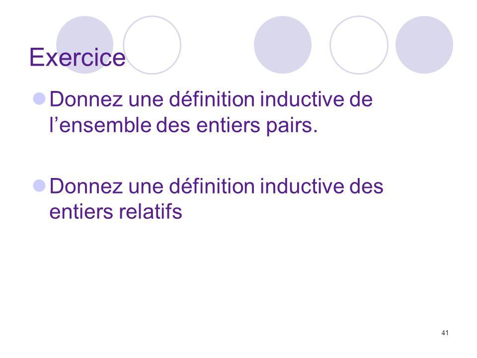 41 Exercice Donnez une définition inductive de lensemble des entiers pairs. Donnez une définition inductive des entiers relatifs