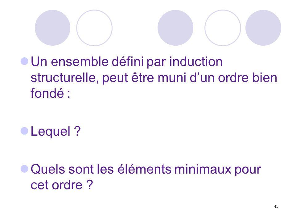 45 Un ensemble défini par induction structurelle, peut être muni dun ordre bien fondé : Lequel ? Quels sont les éléments minimaux pour cet ordre ?
