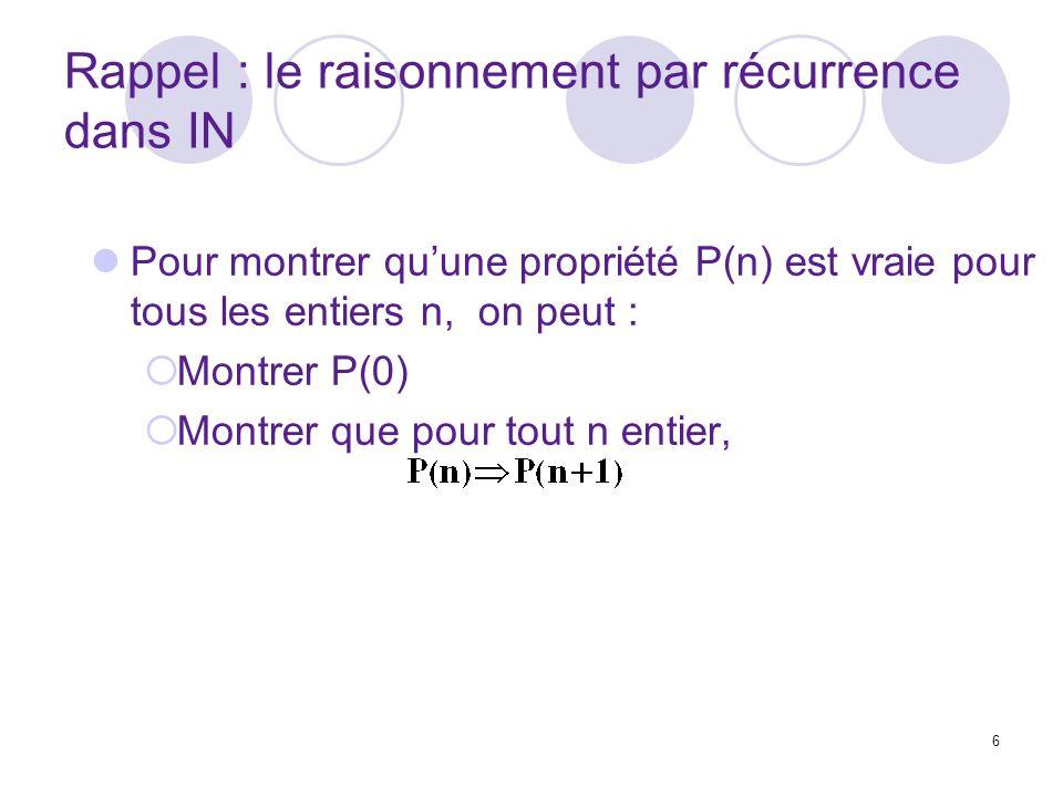 6 Rappel : le raisonnement par récurrence dans IN Pour montrer quune propriété P(n) est vraie pour tous les entiers n, on peut : Montrer P(0) Montrer que pour tout n entier,