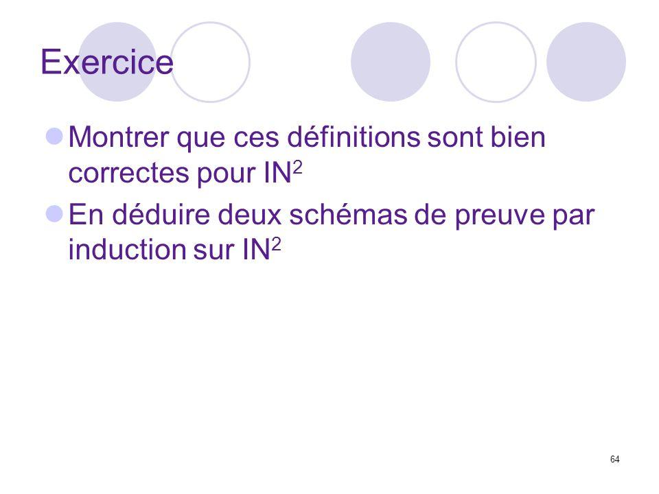 64 Exercice Montrer que ces définitions sont bien correctes pour IN 2 En déduire deux schémas de preuve par induction sur IN 2