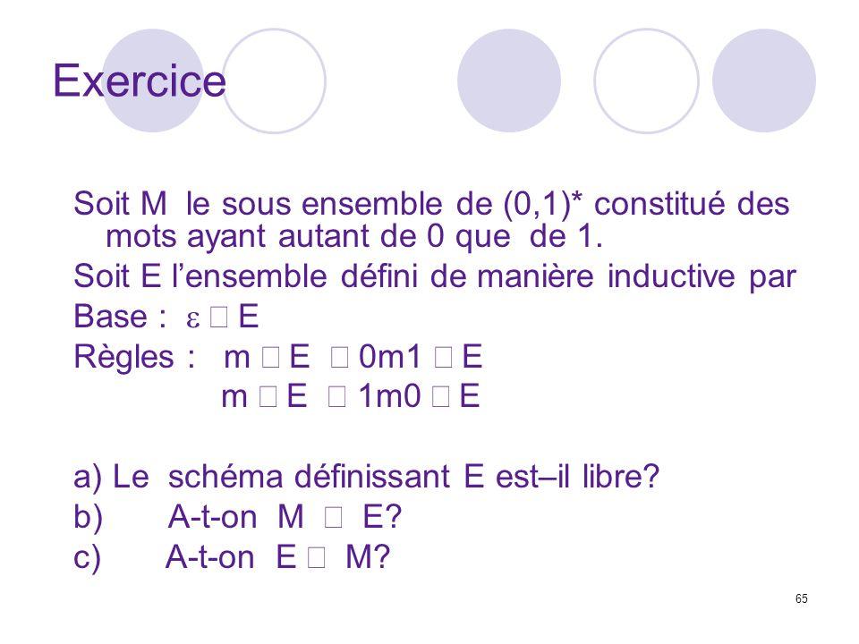 65 Exercice Soit M le sous ensemble de (0,1)* constitué des mots ayant autant de 0 que de 1. Soit E lensemble défini de manière inductive par Base : E