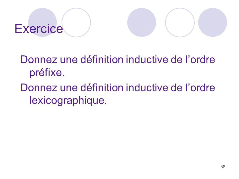 69 Exercice Donnez une définition inductive de lordre préfixe. Donnez une définition inductive de lordre lexicographique.