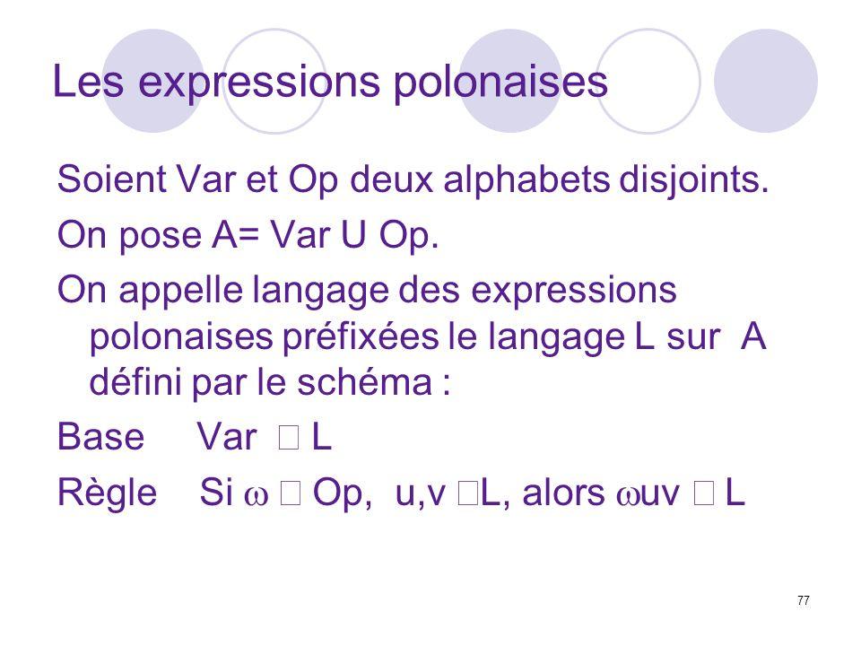 77 Les expressions polonaises Soient Var et Op deux alphabets disjoints. On pose A= Var U Op. On appelle langage des expressions polonaises préfixées