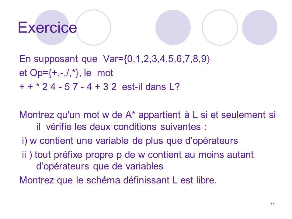 78 Exercice En supposant que Var={0,1,2,3,4,5,6,7,8,9} et Op={+,-,/,*}, le mot + + * 2 4 - 5 7 - 4 + 3 2 est-il dans L.