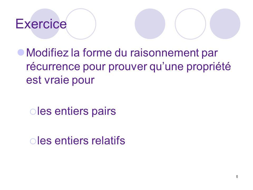 8 Exercice Modifiez la forme du raisonnement par récurrence pour prouver quune propriété est vraie pour les entiers pairs les entiers relatifs