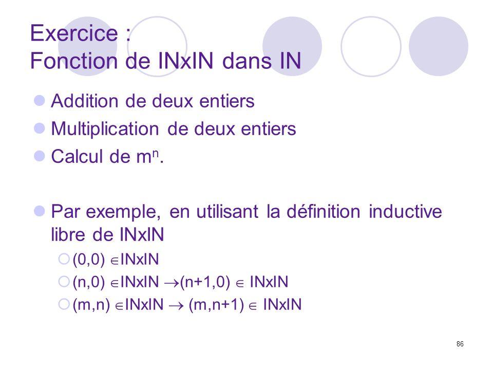 86 Exercice : Fonction de INxIN dans IN Addition de deux entiers Multiplication de deux entiers Calcul de m n. Par exemple, en utilisant la définition