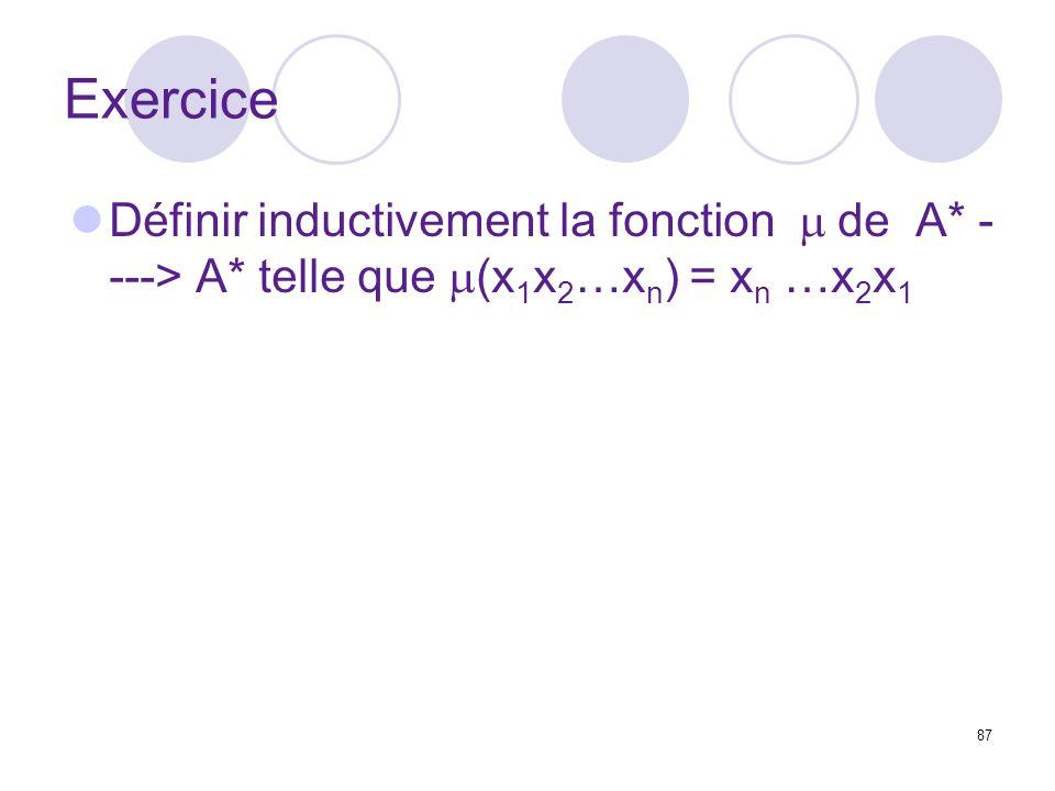 87 Exercice Définir inductivement la fonction de A* - ---> A* telle que (x 1 x 2 …x n ) = x n …x 2 x 1