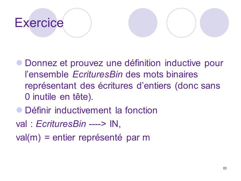 89 Exercice Donnez et prouvez une définition inductive pour lensemble EcrituresBin des mots binaires représentant des écritures dentiers (donc sans 0 inutile en tête).