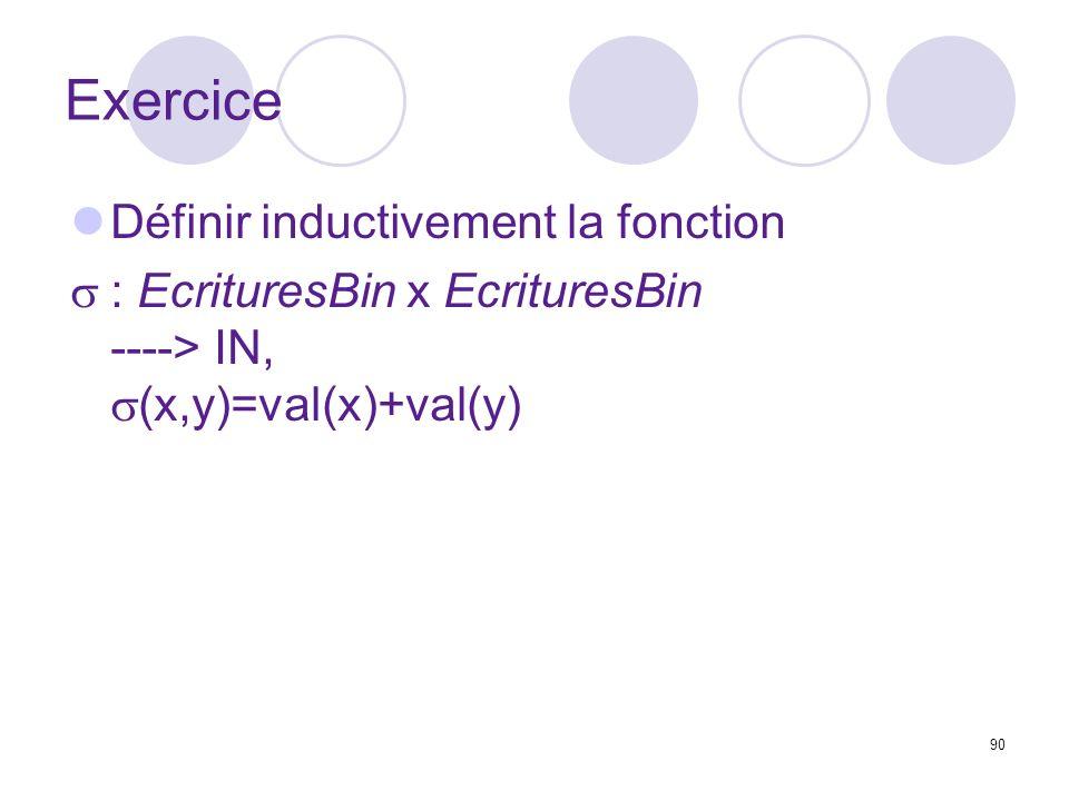 90 Exercice Définir inductivement la fonction : EcrituresBin x EcrituresBin ----> IN, (x,y)=val(x)+val(y)