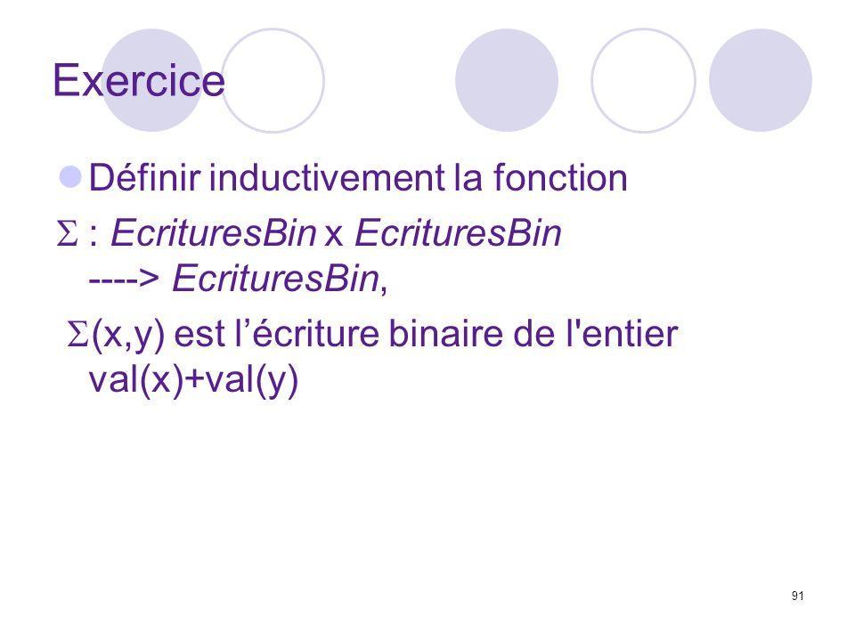 91 Exercice Définir inductivement la fonction : EcrituresBin x EcrituresBin ----> EcrituresBin, (x,y) est lécriture binaire de l entier val(x)+val(y)