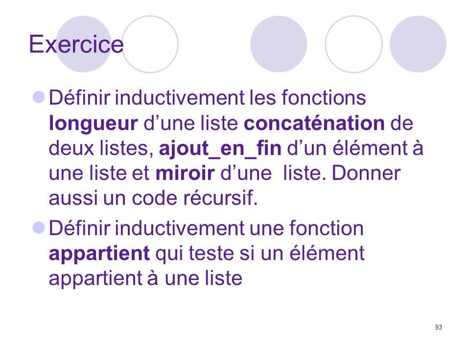 93 Exercice Définir inductivement les fonctions longueur dune liste concaténation de deux listes, ajout_en_fin dun élément à une liste et miroir dune liste.