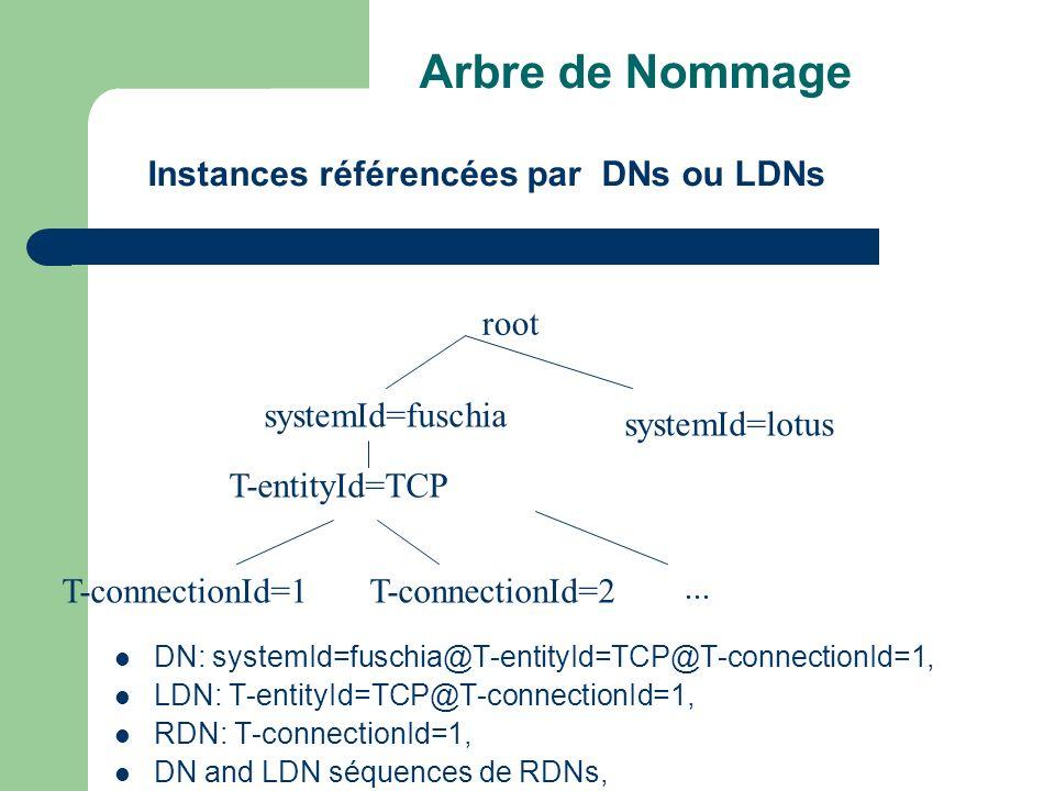 Arbre de Nommage DN: systemId=fuschia@T-entityId=TCP@T-connectionId=1, LDN: T-entityId=TCP@T-connectionId=1, RDN: T-connectionId=1, DN and LDN séquenc