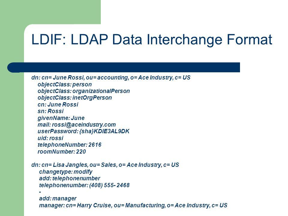 LDIF: LDAP Data Interchange Format. dn: cn= June Rossi, ou= accounting, o= Ace Industry, c= US objectClass: person objectClass: organizationalPerson o