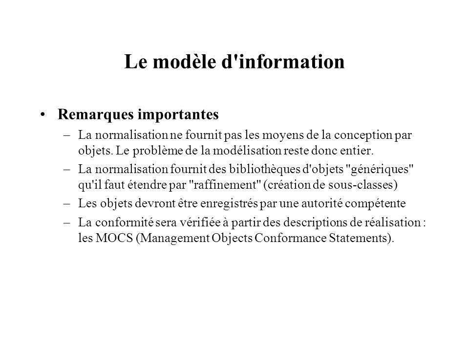 Le modèle d'information Remarques importantes –La normalisation ne fournit pas les moyens de la conception par objets. Le problème de la modélisation