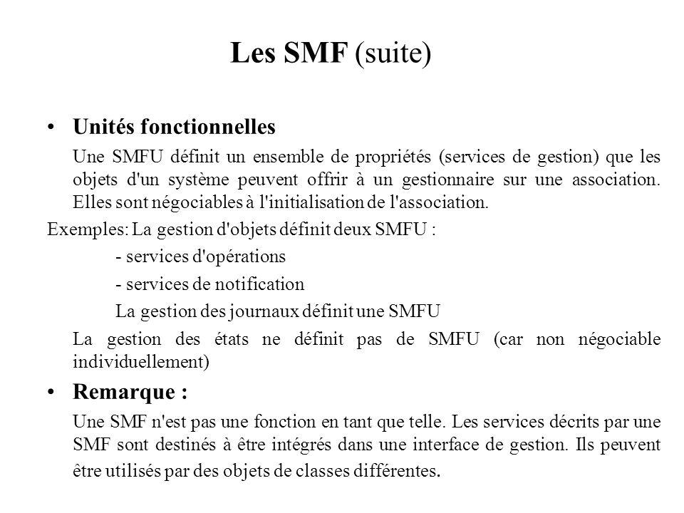 Les SMF (suite) Unités fonctionnelles Une SMFU définit un ensemble de propriétés (services de gestion) que les objets d'un système peuvent offrir à un