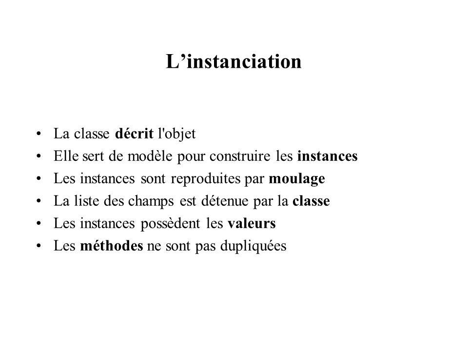 Linstanciation La classe décrit l'objet Elle sert de modèle pour construire les instances Les instances sont reproduites par moulage La liste des cham