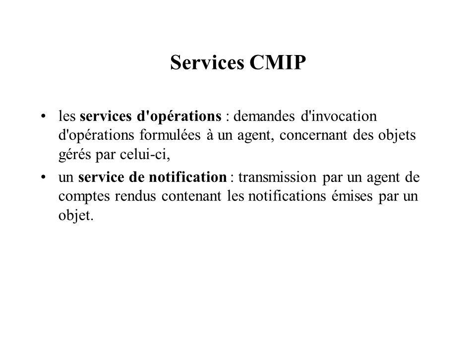 Services CMIP les services d'opérations : demandes d'invocation d'opérations formulées à un agent, concernant des objets gérés par celui-ci, un servic