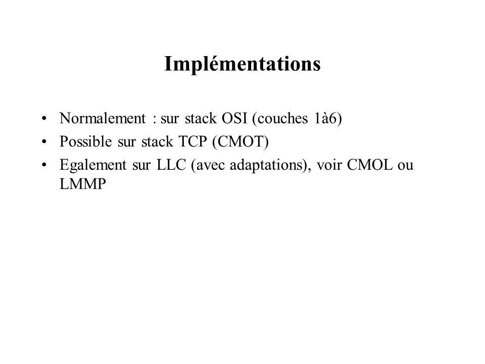 Implémentations Normalement : sur stack OSI (couches 1à6) Possible sur stack TCP (CMOT) Egalement sur LLC (avec adaptations), voir CMOL ou LMMP