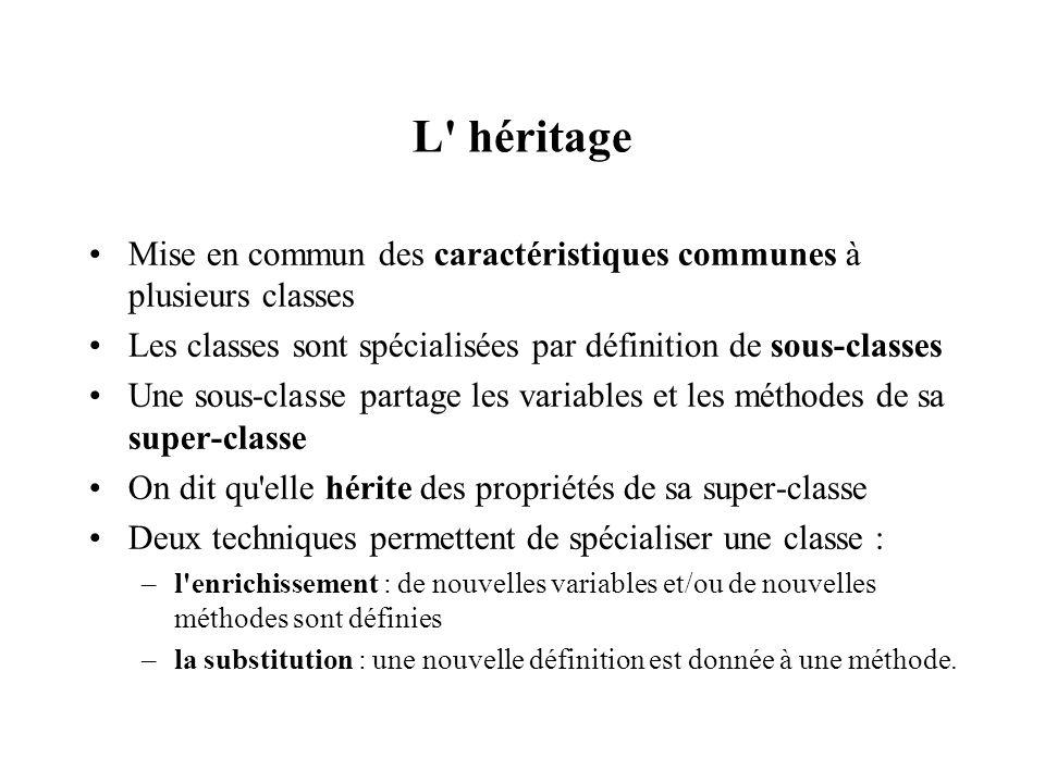 L' héritage Mise en commun des caractéristiques communes à plusieurs classes Les classes sont spécialisées par définition de sous-classes Une sous-cla