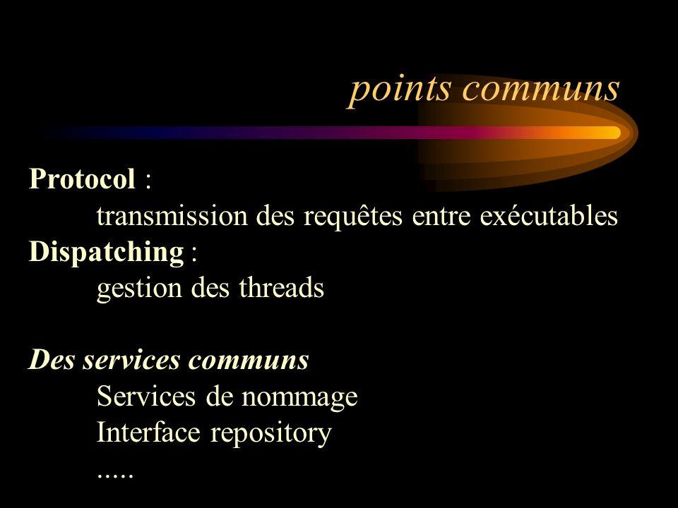 points communs Protocol : transmission des requêtes entre exécutables Dispatching : gestion des threads Des services communs Services de nommage Inter