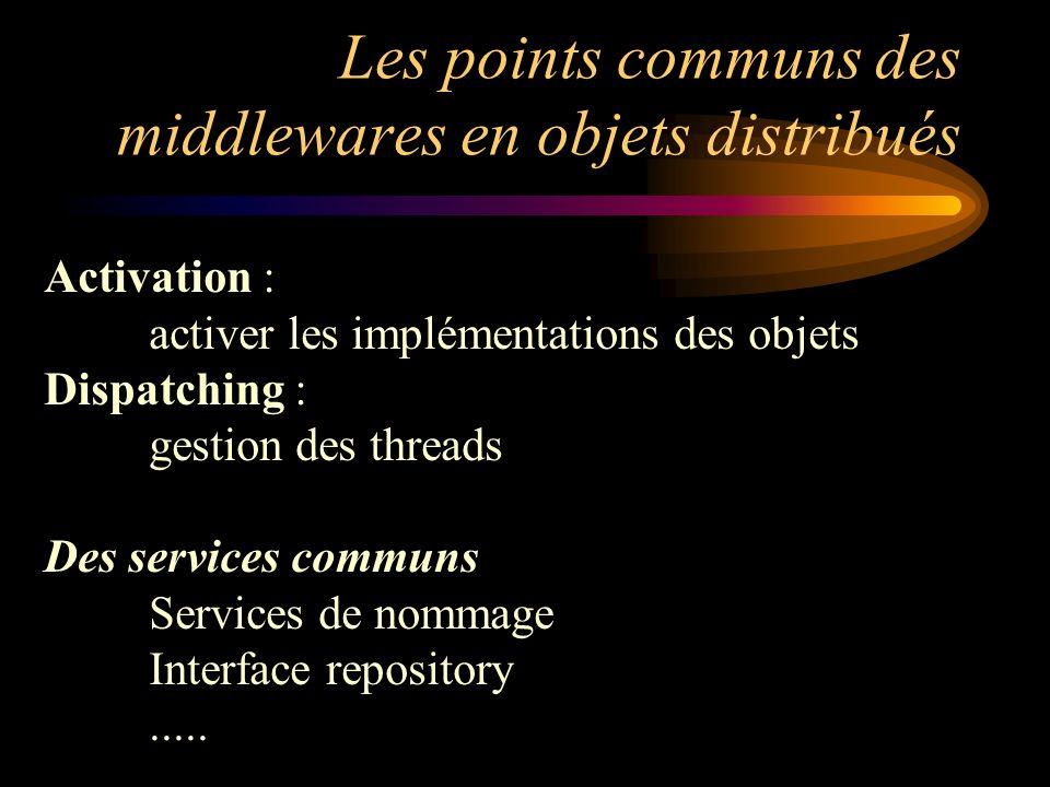 Les points communs des middlewares en objets distribués Activation : activer les implémentations des objets Dispatching : gestion des threads Des serv