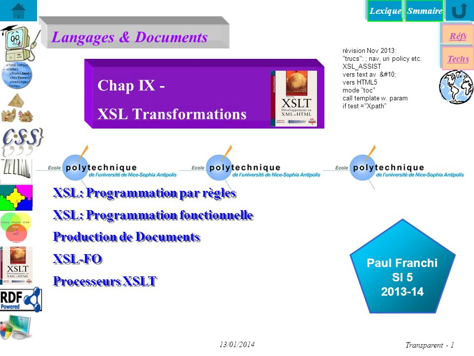 Lexique Langages & Documents Réfs Techs Smmaire......