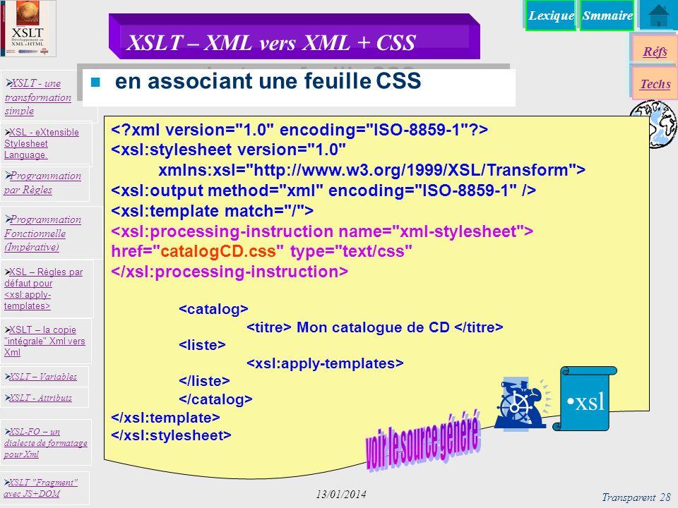 Lexique XSLT - une transformation simple XSLT - une transformation simple Programmation par Règles Programmation par Règles XSLT – la copie