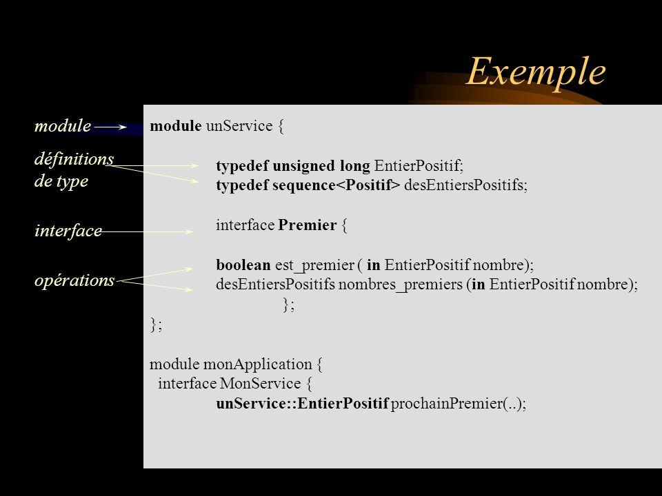 module unService { typedef unsigned long EntierPositif; typedef sequence desEntiersPositifs; interface Premier { boolean est_premier ( in EntierPositi