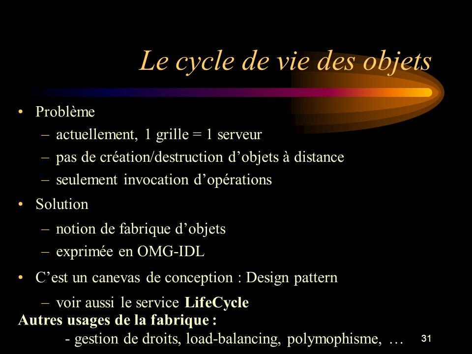 31 Le cycle de vie des objets Problème –actuellement, 1 grille = 1 serveur –pas de création/destruction dobjets à distance –seulement invocation dopér