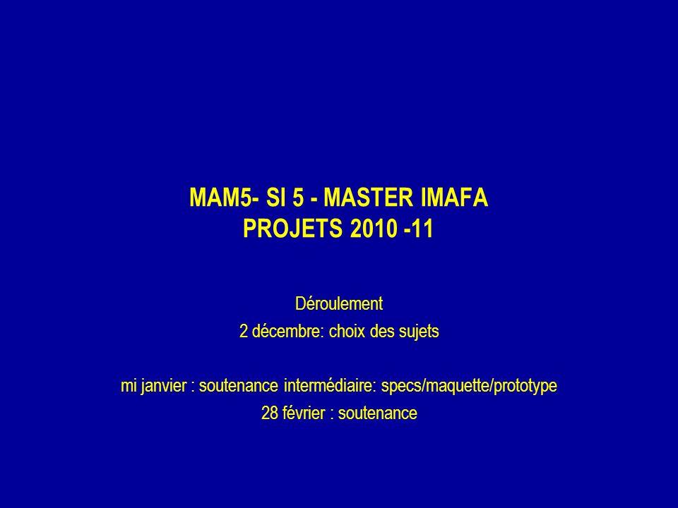MAM5- SI 5 - MASTER IMAFA PROJETS 2010 -11 Déroulement 2 décembre: choix des sujets mi janvier : soutenance intermédiaire: specs/maquette/prototype 28